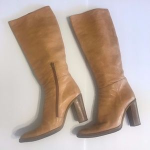 Nine West Studio Tall Tan Leather Zip Boots Sz 10